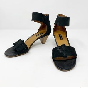 Paul Green Coco Leather Ankle Strap Sandals Black